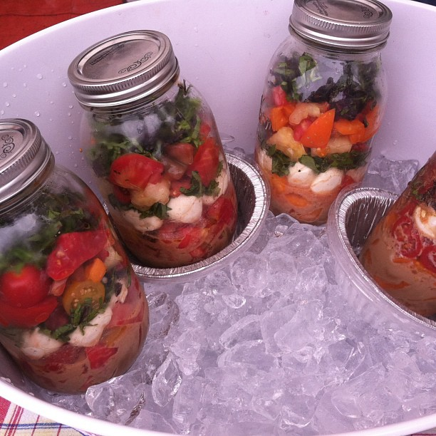 Great picnic idea: caprese salad in a jar from chef John Fink #TheWholeBeast. How do you use canning jars for take away?