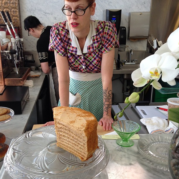 The ultra talented pastry chef #MichellePolzine and one of masterworks: The Russian Honey Layer Cake @20thCenturyCafe. Enjoyed with @Amymachnak.