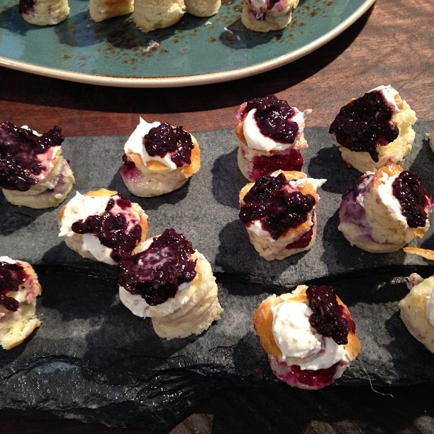 Brilliant smoked Marionberry jam on ricotta biscuit from Besaus chef #feastpdx