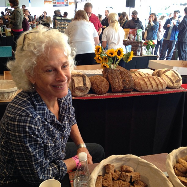 Here's Tissa of the very Tartine-esque Tabor Bread at #feastpdx. The spelt and sprouted grain breads are the essence of deliciousness.