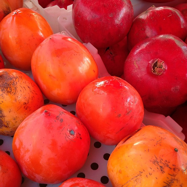 Persimmons and pomegranate at #HarvestFest @CUESA