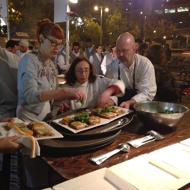 In the @CUESA Sunday Supper kitchen: Joyce Goldstein, Michelle Polzine and Stephan Terje playing up their first course.