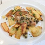 @SFCooking Professional Culinary Students Finals l: Restaurant Week: 2nd Course: Pork Scaloppini in preserved lemons and caper sauce, with roasted potatoes. #SFCooking #restaurant