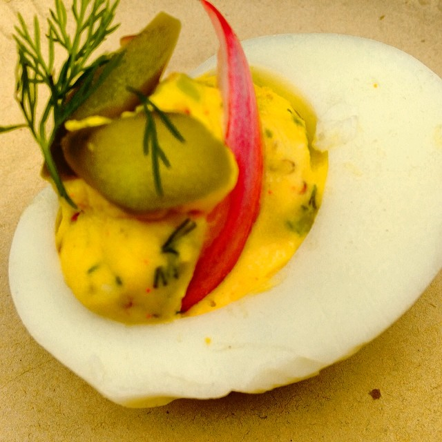 @sfcooking @cuesa kitchen today featured the perfect deviled egg class by Jodi Liano. The pickled asparagus and onion played off so well with the creamy and spicy yolk filling. Spring has sprung!
