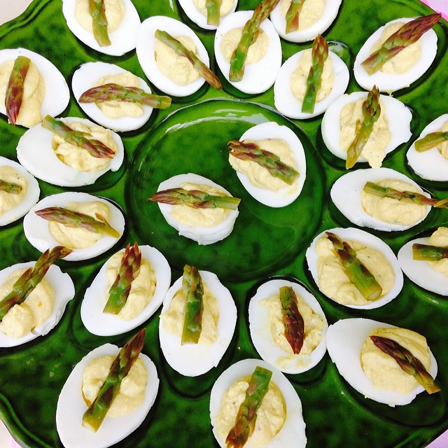 Belated pic of deviled eggs with lightly pickled asparagus.