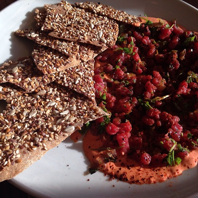 #Lastnight's dinner menu  @bartartinesf: Beef tartar with seeded crackers and a long fermented paprika sauce.