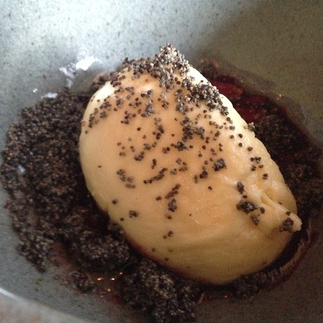 #Lastnight's dinner menu  @bartartinesf: Farmers cheese dumpling with poppy seed crumble.