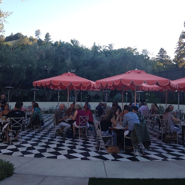 #Geyserville has upped its #glam factor at #Castelli's in the new patio with black and white tile and coral umbrellas, #wineroad