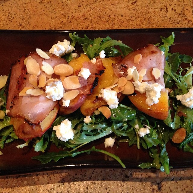 Ready to devour the grilled peach chèvre salad #ZinRestaurant. #WineRoad.