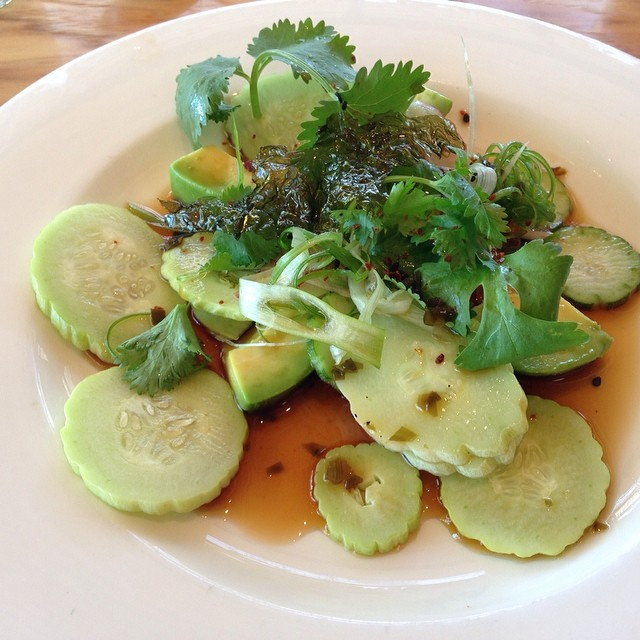 Wakame and cucumber salad from @StrongArmFarm @HealdsburgSHED lunch today.